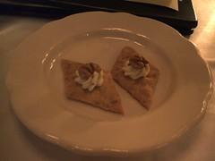 Amuse #1: cracker, butter, nut