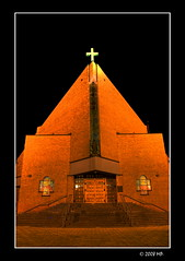 Modern Church #1 (Mariusz Petelicki) Tags: church modern night poland polska hdr noc koi canon400d chrzanw mariuszpetelicki