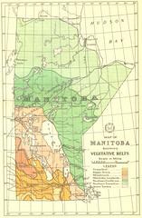 Map of Manitoba Showing Vegetative Belts (1934)
