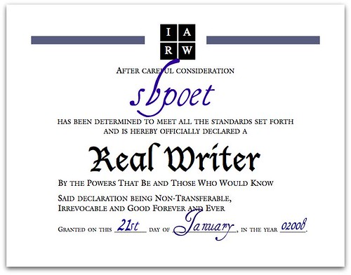 Real Writer Certificate