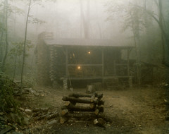 1979 Foggy Morning at Home (anoldent) Tags: fog forest log cabin appalachia unlimitedphotos