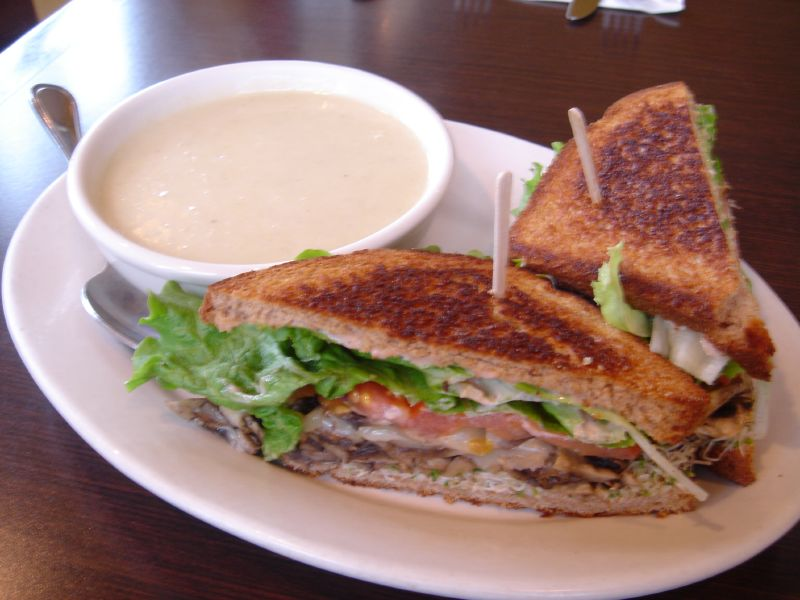 Cream of Artichoke Soup with Mushroom Sandwich