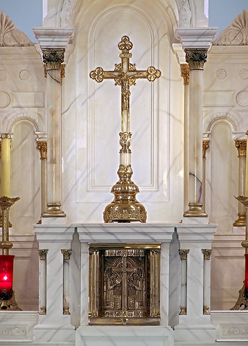 Saint Joseph Roman Catholic Church, in Bonne Terre, Missouri, USA - tabernacle and crucifix
