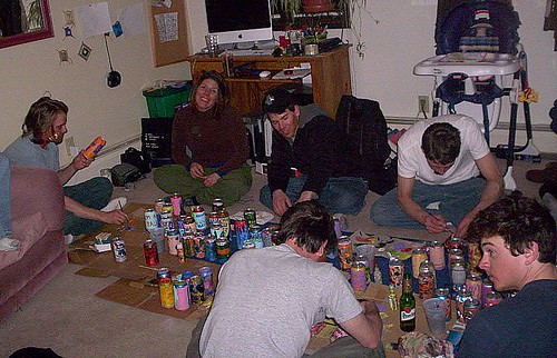 painting cans on the floor