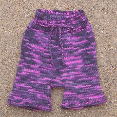 "CLEARANCE Large Girl's Sheepy Pants SHORTIES pink/purple purewool ""Poison"""