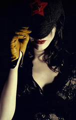 Here we go (Lampeduza) Tags: red portrait fashion yellow dark lips gloves redstar