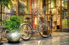 bike at the mall (Kris Kros) Tags: show california ca usa plant flower window fashion bike bicycle photoshop woodland mall photography high nikon san basket dress dynamic hills valley kris fernando romantic inside pinwheel d200 topanga 2008 range hdr kkg cs3 4xp photomatix kros kriskros kk2k kkgallery