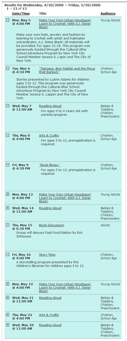 NYPL - 2008 May Schedule