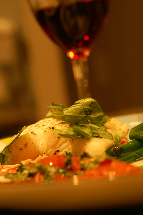 Roasted Halibut with Oregon Pinot Noir