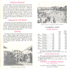Tent City, fees and information, 1919