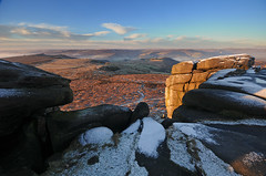 High Above Hathersage (andy_AHG) Tags: peak district derbyshire outdoors beautiful scenery british countryside pennines hills moors edges pursuits hathersage moor higger tor yorkshire landscapes burbage valley winter snow cold snowy landscape outdoor rock formation frost carl wark mountain ridge sport