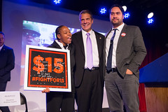 Selected Photos (governorandrewcuomo) Tags: governorandrewmcuomo fightforfairpay communitiesforchange 15 minimumwage livingwage jobs economy mariocuomocampaignforeconomicjustice bellhouse award fightfor15 stage jonathanwestin shantelwalker plaque smile warm friendly presentation brooklyn newyork usa