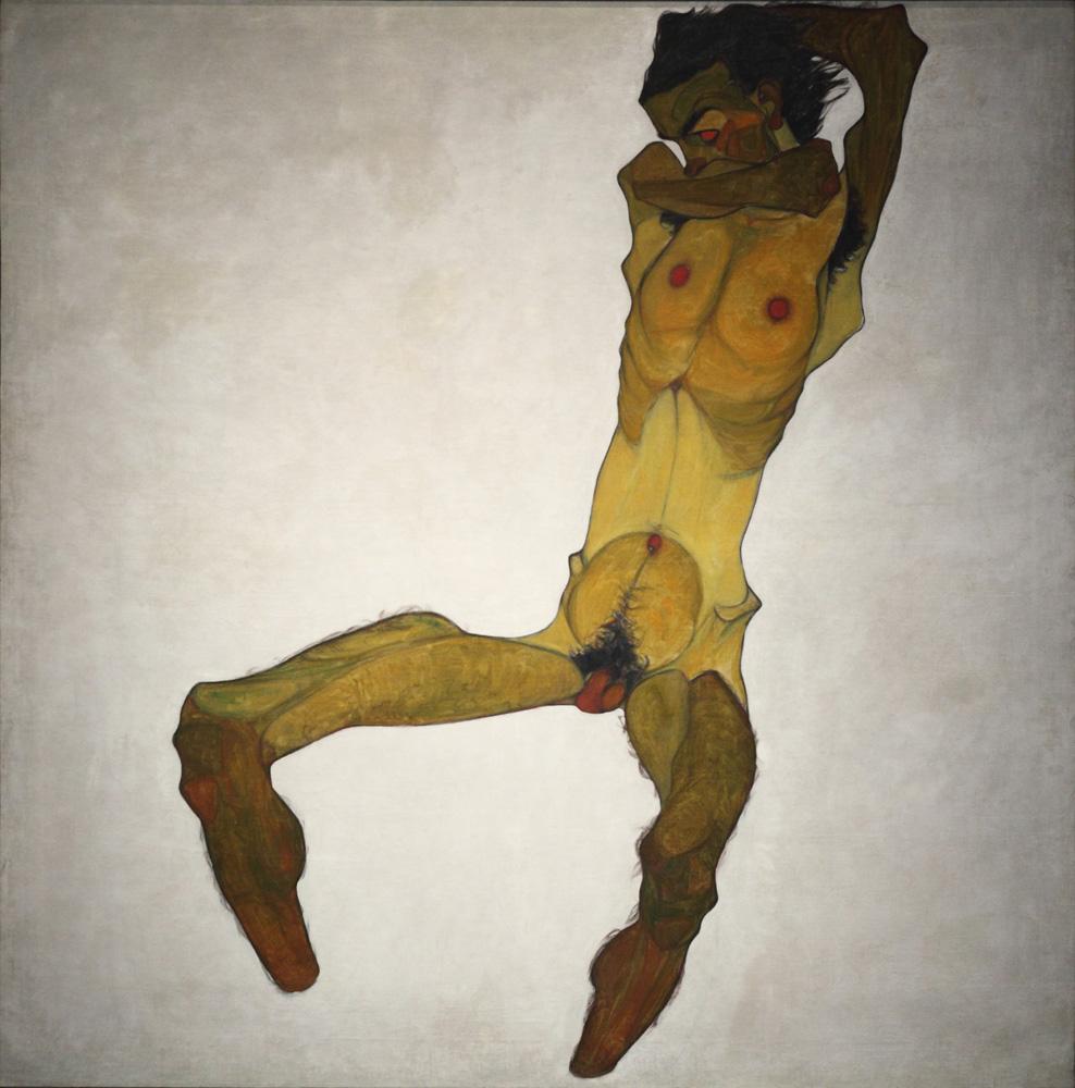 Egon Schiele, Sitzender Männerakt (Selbstdarstellung) [Seated Male Nude (Self-Portrait)], 1910