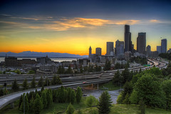 Seattle Skyline from Dr Jose Rizal Bridge at Sunset - HDR (David Gn Photography) Tags: seattle city travel trees light sunset sky urban mountain cars skyline skyscraper buildings landscape town washington highway cityscape pacific northwest trails freeway sound olympic peninsula range cascade hdr puget 3xp canoneos7d mygearandme sigma2470mmifexdghsm sigma50th