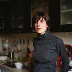 Sis (mechakucha) Tags: portrait 6x6 film kitchen mediumformat tanya sister hasselblad negative myfamily portra portranc
