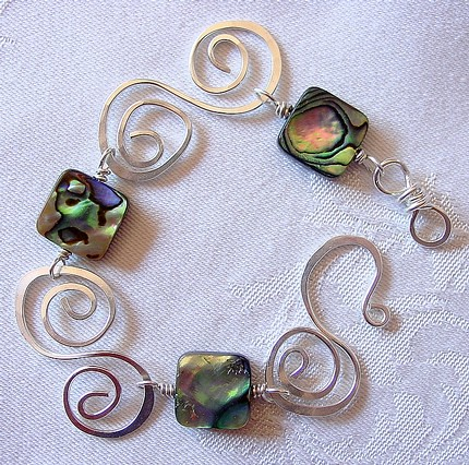 Silver and abalone bracelet