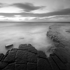 Kilve Pavements VIII (Adam Clutterbuck) Tags: ocean uk longexposure greatbritain sea england blackandwhite bw seascape monochrome rock square landscape coast blackwhite unitedkingdom britain pavement somerset bn coastal shore elements gb limestone blogged bandw sq oe pavements greengage kilve adamclutterbuck eastquantoxhead sqbw bwsq showinrecentset openedition