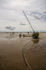 (Shemer) Tags: sea sky reflection beach clouds boat wideangle anchor lowtide tilted ileder