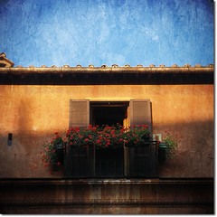 Roman living (redcipolla) Tags: door travel flowers light shadow italy house rome building texture vintage balcony scratches dirt noise impressedbeauty