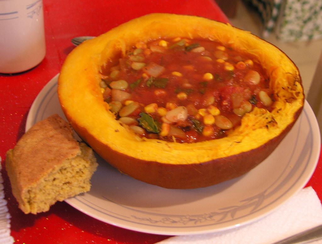 Cornbread & Succotash in Baked Pumpkin Bowl