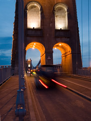Bridge at dusk (rhianwhit) Tags: motion car wales night canon rebel north explore eos300d wfc week3 northwales menaibridge interestingness240 i500 welshflickrcymru superbmasterpiece