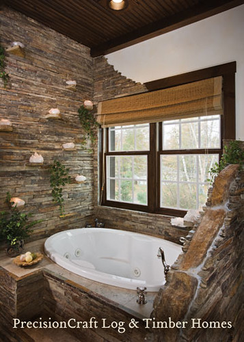 Master Bathroom | Custom Hybrid Log & Timber Home | PrecisionCraft Log & Timber Homes