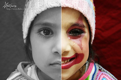 "The Clown took OFF her MASK ! (""Anwaar) Tags: girl smile lost happy sadness kid tears sad with darkness mask you clown lies smiles cant where your hide will laugh stupid while laughter inside their cry tear bleeding payaso without yourself find dake sadfeeling"