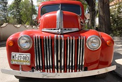 Restored Old Red Ford Pickup (StevenMiller) Tags: red ford truck mexico morelia pickup grill bumper chrome restored michoacan