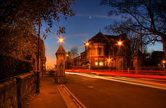 Lark Lane, Liverpool (John_Kennan) Tags: park longexposure slr night speed liverpool canon dark landscape eos evening slow slowshutter lighttrails 2008 hdr highdynamicrange afterdark capitalofculture larklane 40d hdraddicted