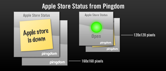 Apple store status banners from Pingdom