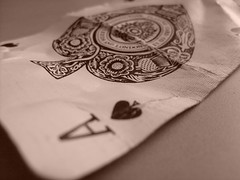 ace of spades (dandavie) Tags: sepia cards magic ace bent crease spades ruined aceofspades creaseline cruppled