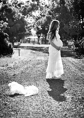 Angels fall first ({amanda}) Tags: road shadow woman white angel backlight wings dress pregnancy 85mm maternity pathway amandakeeysphotography