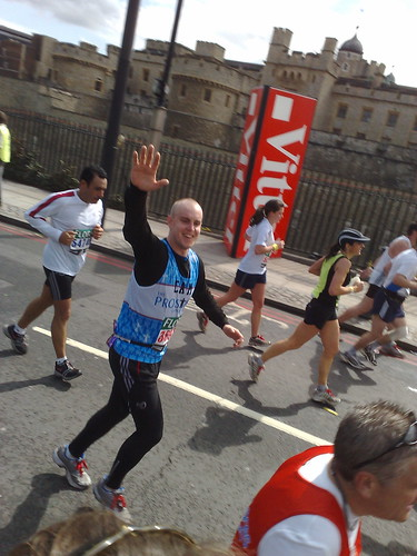 Cam at The Tower of London - looking strong at mile 22