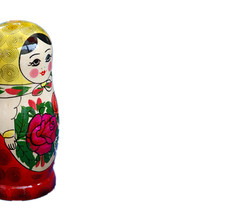 Russian Doll (incurable_hippie) Tags: color colour detail macro art closeup handicraft toy design wooden folkart russia traditional craft whitebackground ornament inside tradition sizes detailed intricate nesteddoll russiandoll stackingdoll matryoshkadoll babooshkadoll