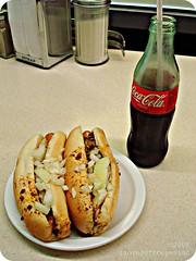 Two Coney Island Hot Dogs And A Coke (ilovecoffeeyesido) Tags: food restaurant diner coke cocacola picnik coneyislandhotdogs fortwaynein coneys ftwaynein ftwaynesfamousconeyisland shortbottle fortwaynesfamousconeyisland
