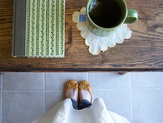 Everyday :: 3 (Stephanie Caldwell) Tags: green yellow book shoes cupoftea woodtable