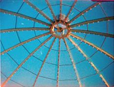 Mall food court skylight (QsySue) Tags: blue sky lines toy circles 110 toycamera skylight spy spycamera 110film minicamera ansco50