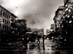 days of rain in San Francisco (Nitsa1) Tags: street white black rain umbrella san francisco crossing market cable streetcar nitsa aplusphoto