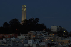 Coit Tower from North Beach (S Migol) Tags: sanfrancisco longexposure urban night geotagged 50mm pentax coittower bluehour 50 smigol niftyfifty pentaxk10d fastfifty smcpfa50mmf14 justpentax stephenmigol
