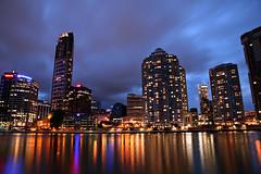 Brisbane City from Kangaroo Point (Xenedis) Tags: kangaroopoint river brisbaneriver reflections city skyline brisbane night dusk twilight bluehour evening queensland qld australia cityscape