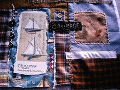 new wip (shebrews) Tags: collage sailboat embroidery fabric crazyquilting wallhanging artquilt