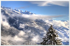 Quiet morning - HDR, no example for D300 noise (christianmeichtry) Tags: trees winter mountain snow alps landscape switzerland nikon europe creativecommons alp wallis soe valais d300 anawesomeshot aplusphoto