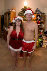 Christmas Couple 2007 (SunCat) Tags: christmas costumes woman home me friend girlfriend couple kevin all bbw spouse wife naturist debbie sweetheart lover mate 2008 santahat companion soulmate suncat braless naturists confidante so