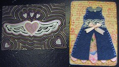 Freelove & Paperdoll (kylanicole) Tags: pink blue art wool atc fairytale pen paper carved wings shiny artist pattern dress heart handmade metallic eraser tradingcard craft felt rubber stamp fairy homemade fabric cotton card trading handcrafted ribbon cloth drawn paperdoll gel tale stamped papercraft handcarved aliciapaulson