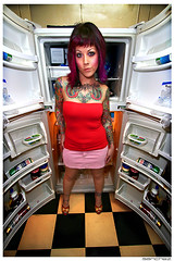 .busta. (.SANCHEZ.) Tags: portrait woman color art tattoo ink photoshop canon tile mirror weird colorful doors pattern floor squares warped symmetry jelly vodka mayo dominique refrigerator rebelxt checkerboard flipped sanchez parmessiancheese 40disinthemail kennysanchez