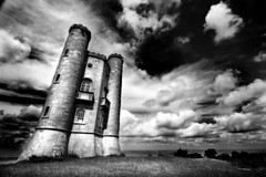Broadway Tower (HDR) (left-hand) Tags: sky bw cloud tower castle broadway wideangle turret hdr breathtaking blackwhitephotos myfirsthdr platinumphoto shutterbox betterthangood