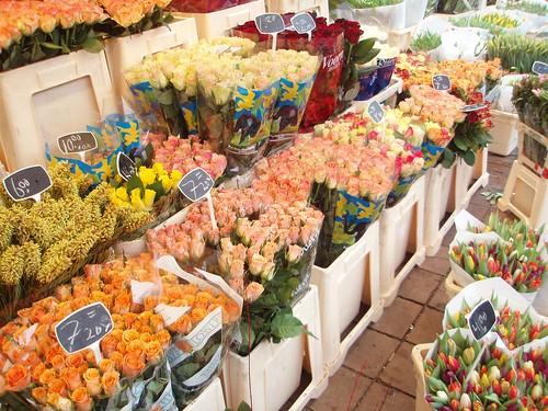 Tulipanes y flores de colores en Amsterdam