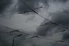Wired (just.Luc) Tags: brussels sky cloud monochrome metal clouds grey gris belgium belgique gray belgië wolken bruxelles tram cable ciel lamppost cables lucht streetcar nuage nuages brüssel brussel kabels kabel grijs belgien wolk grauw tramcar evere