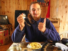 Pierre having lunch at Tilicho Peak Hotel