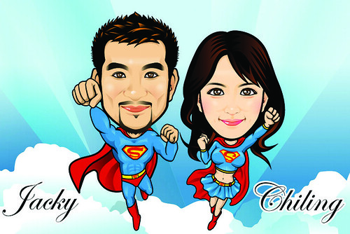 Q Digital Caricature Super Couples Theme Drawing